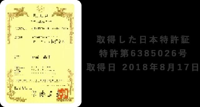 取得した日本特許証特許第6385026号取得日 2018年8月17日